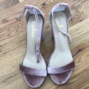 Lulus pink velvet heels